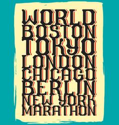 World marathon series retro poster vector