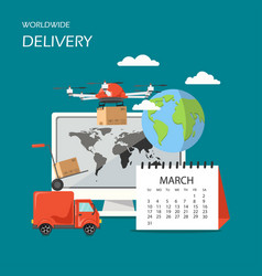 Worldwide delivery flat style design vector
