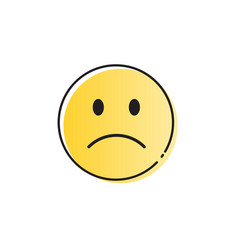yellow cartoon face sad negative people emotion vector image