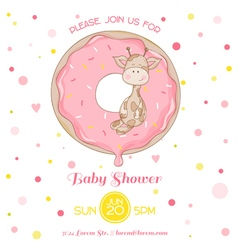 Baby Giraffe Shower Card - with place for text vector image vector image