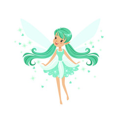 beautiful smiling turquoise fairy girl flying vector image vector image