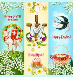 happy easter he is risen festive banner set vector image vector image