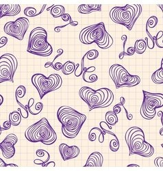 Seamless pattern of hand-drawn heart shape and the vector image