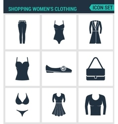 Set of modern icons Shopping women s vector image vector image