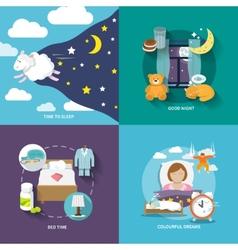 Sleep time icons flat vector image vector image