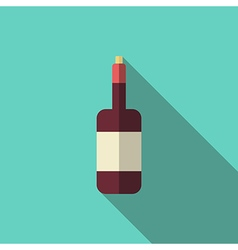 Wine bottle long shadow vector image vector image