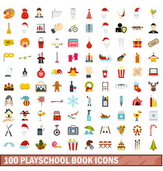100 playschool book icons set flat style vector image
