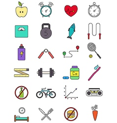 Color healthy lifestyle icons set vector image vector image