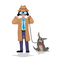 detective with binocular and dog on white vector image