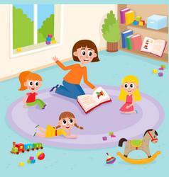 flat girls and teacher at carpet vector image