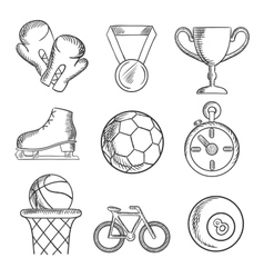 Isolated sketched sport games icons vector image vector image