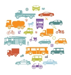 Round Card with Retro Flat Cars and Vehicles vector image