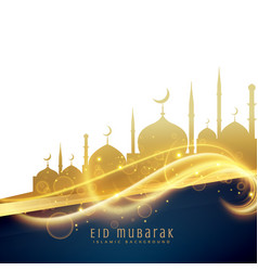 awesome eid festival greeting design with golden vector image