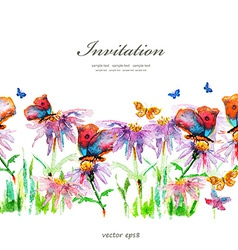 cute floral border watercolor vector image vector image