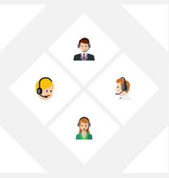 flat telemarketing set of telemarketing hotline vector image vector image