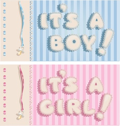 Its a boy and its a girl banners vector image