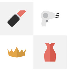 set of simple elegance icons elements dress crown vector image vector image