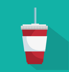 Soda glass with straw icon vector