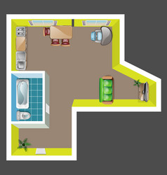 top view flat interior plan with furniture vector image vector image