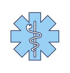 blue caduceus medical shield vector image vector image