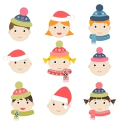 Children with winter clothing vector image vector image