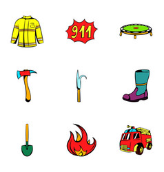 fire equipment icons set cartoon style vector image vector image