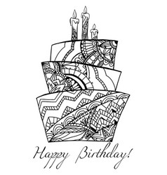 greeting card with a cake with a boho pattern vector image vector image