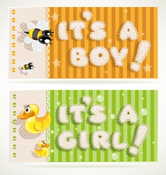 Its a boy and its a girl banners 2 vector image vector image