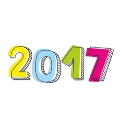 New Year 2017 sign isolated on white vector image