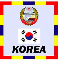 official ensigns flag and coat of arm of korea vector image vector image