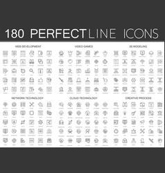 180 modern thin line icons set web development vector