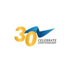 30 years anniversary celebration elegant ribbon vector