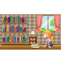 A girl inside the house with many books vector image