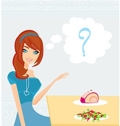 A girl who cannot decide what to eat vector