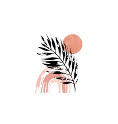 abstract grunge palm leaf sun rainbow composition vector image
