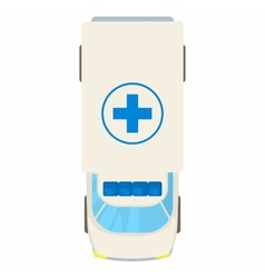 Ambulance car top view icon cartoon style vector