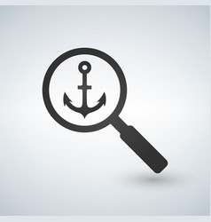 an isolated magnifier icon with an anchor vector image