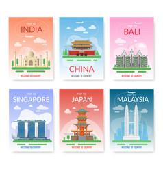 Asia travel exotic tour beautiful landmarks vector