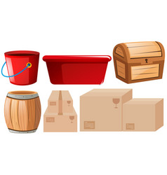 Assorted containers on white vector