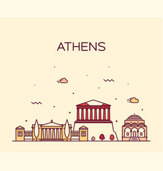 athens skyline greece linear style city vector image