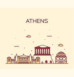 Athens skyline greece linear style city vector