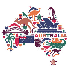 Australian icons in form a map vector