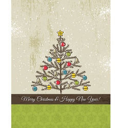 Background with snowflakes and christmas tree vector