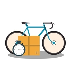 Bicycle carton box and chronometer vector