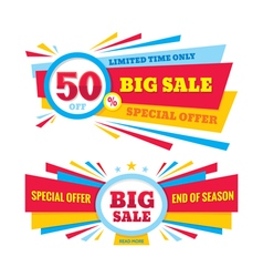 Big sale banner - discount 50 off vector image