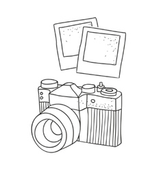 Black and white hand drawn image of vintage photo vector image