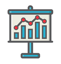 Business growing chart on board colorful line icon vector