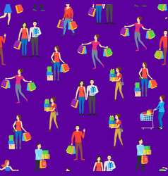 cartoon characters different shopping people vector image