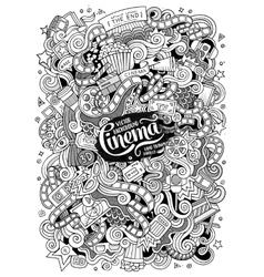 Cartoon doodles cinema vector