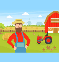 cheerful male farmer at summer rural landscape vector image